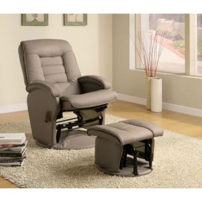 Recliners With Leather Like Vinyl Glider With Ottoman - 600166