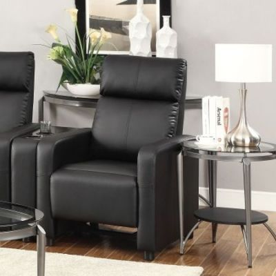 Leather Push Back Home Theatre Recliner in Black - 600181
