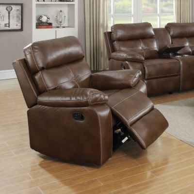 Damiano Faux Leather Motion Glider Recliner in Brown - 601693