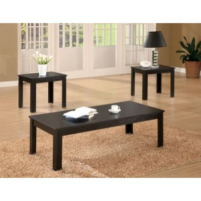 Casual 3 Piece Occasional Table Set in Black - 700225