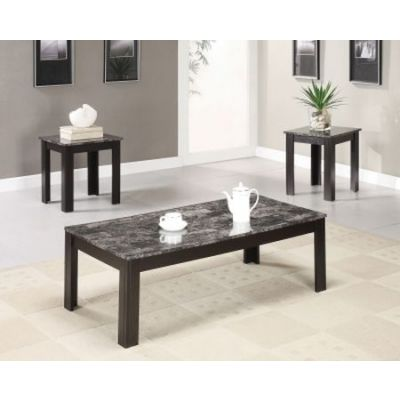 3 Piece Marble-Look Top Occasional Table Set in Black - 700375
