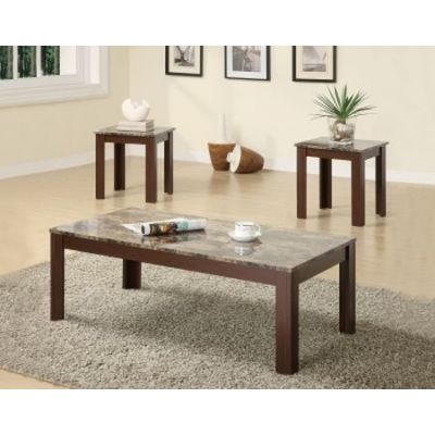 3 Piece Occasional Cocktail and End Table Set in Brown - 700395