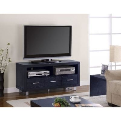 Black Shelves and Drawers Media TV Console - 700644