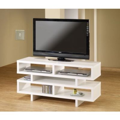White Media TV Console with Open Storage - 700721