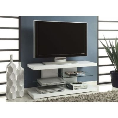 Modern Tv Stand With Alternating Glass Shelves - 700824