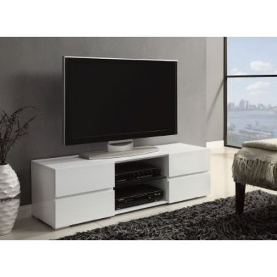 White High Gloss TV Console with Glass Shelf - 700825