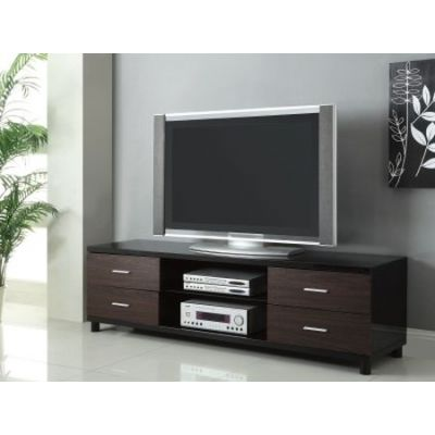 4 Drawer Two Tone Tv Stand With 2 Shelves - 700826
