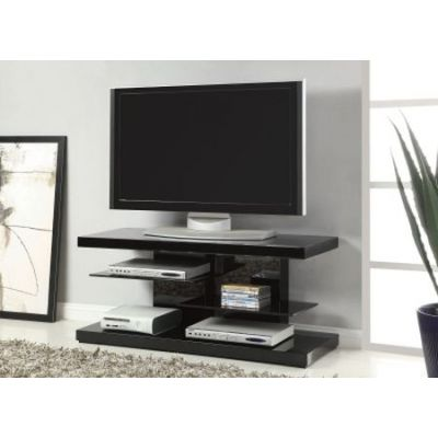 Modern Tv Stand With Alternating Glass Shelves - 700840