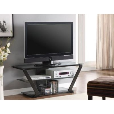 Black Metal and Glass Media TV Console - 701370