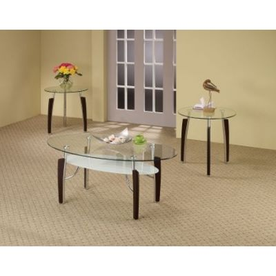 3 Piece Round Coffee and End Table Set in Cappuccino - 701558