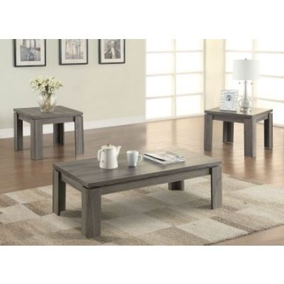 Weathered 3 Piece Table Set in Dark Grey - 701686