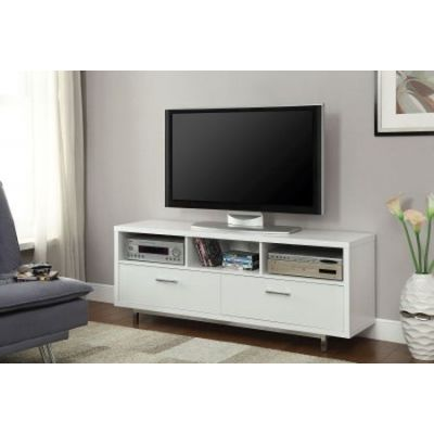 White Wall Units Low Media TV Console With Metal Base - 701972