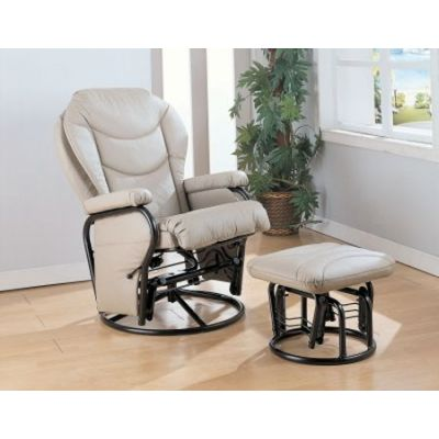 Faux Leather Recliner Glider Chair with Ottoman - 7040