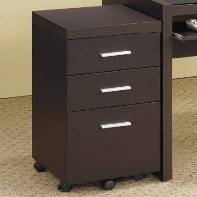 Papineau 3 Drawer Mobile File Cabinet in Dark Cappuccino - 800903