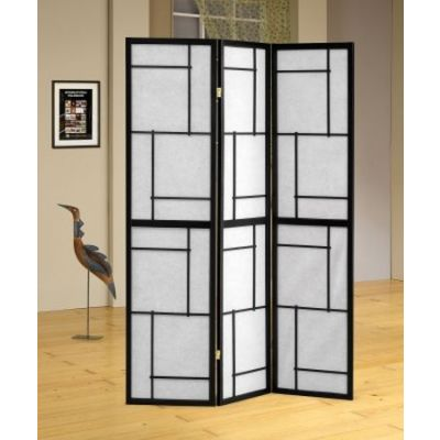Three Panel Screen Room Divider in Black - 900102