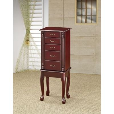 Traditional Queen Style Jewelry Armoire in Cherry Finish - 900144