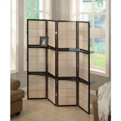 Folding Floor Screen with 4 Wood Shelves - 900166