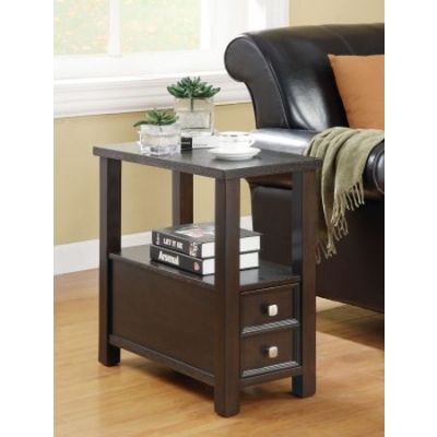 1 Drawer 1 Shelf Chairside Table in Cappuccino - 900992