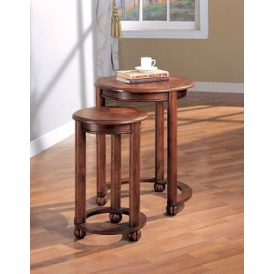 2 Piece Round Nesting Table in Cherry - 901039