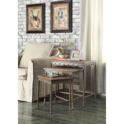 Brown and antique Bronze Nesting Tables - 901373