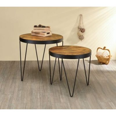 2 Piece Round Nesting Tables in Honey Cherry - 901944