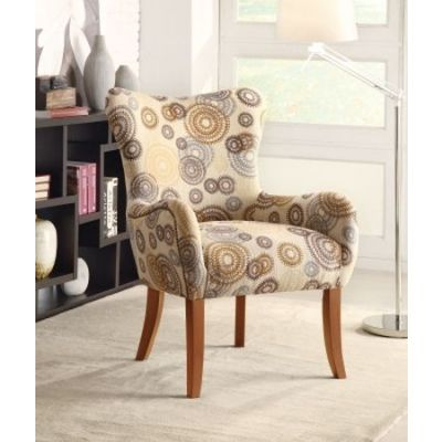 Upholstered Accent Arm Chair in Beige Geometric Pattern - 902052