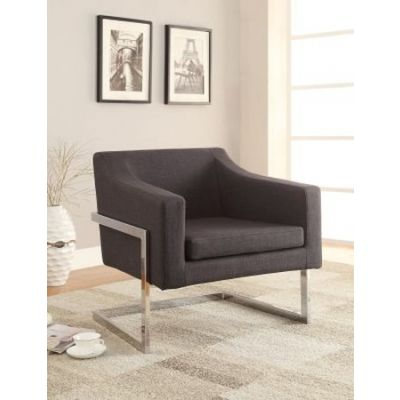 Contemporary Metal Frame Accent Chair in Gray - 902530