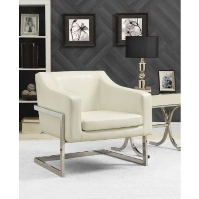 Contemporary Armless Accent Chair in Gray and White - 902539