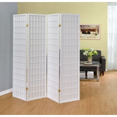 Four Panel White Folding Screen - 902626