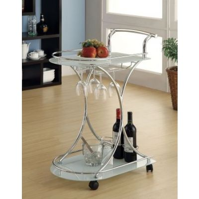 Serving Cart with 2 Frosted Glass Shelves in Light Chrome - 910002