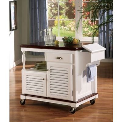 Cherry Top Storage Kitchen Cart in White Finish - 910013