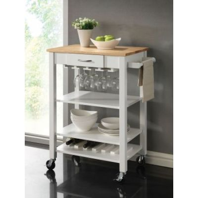 Kitchen Cart with Butcher Block Top in White and Natural - 910025