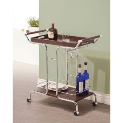 Chrome Serving Cart with Stemware Rack and Casters - 910065