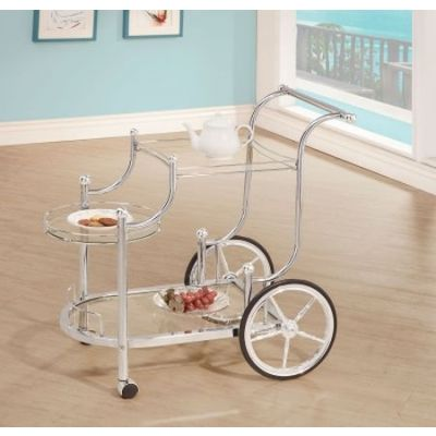 Chrome Wheeled Serving Cart - 910076