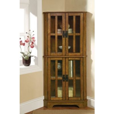 Warm Brown Corner Curio Cabinet - 950185