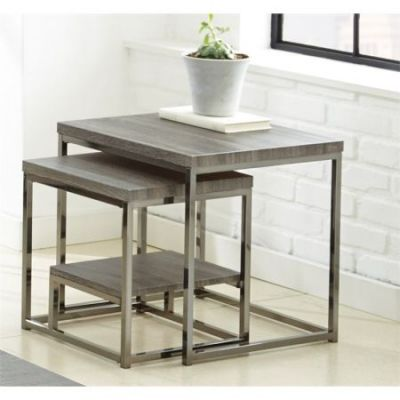 Lucia 2 Pc Nesting Table in Black Nickel - LU150NT