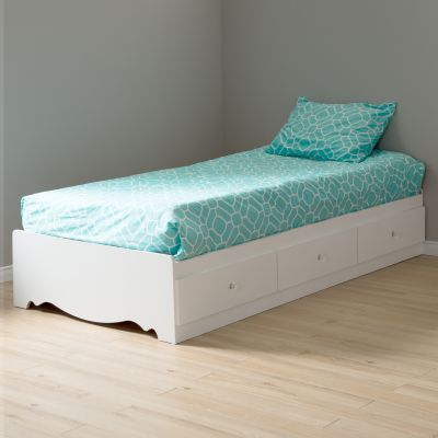 Crystal White Twin Bed with 1 Turquoise Duvet Cover - 100000
