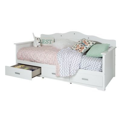 Tiara Twin Daybed with Storage (39'') in White