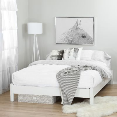 Step One Pure White Queen Platform Bed with Storage - 100110