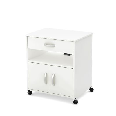 Axess Microwave Cart on Wheels in White - 10012