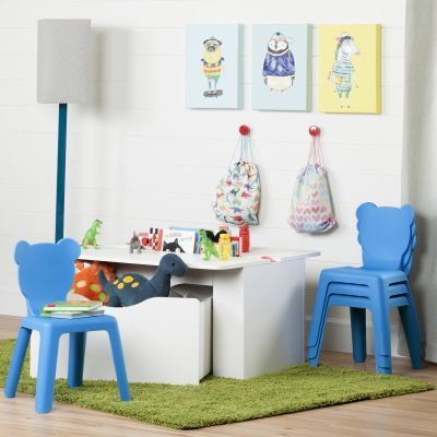 Crea White Kids Activity Table and 4 Blue Plastic Chairs Set - 100177