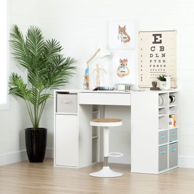 Crea Pure White Counter-Height Craft Table and Stool Set - 100179