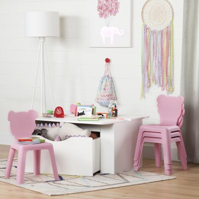 Crea White Kids Activity Table and 4 Pink Plastic Chairs Set - 100203