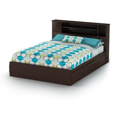 Vito Queen Bed with Drawers and Bookcase in Chocolate