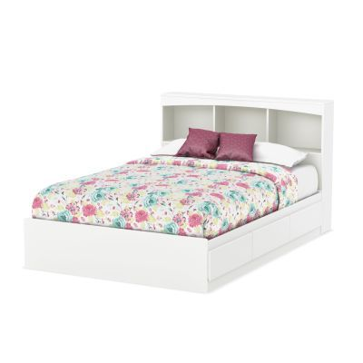 Step One Full Size Bed with Drawers and Bookcase in White - 10039