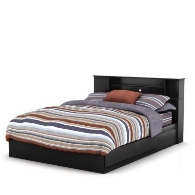 Vito Queen Bed with Drawers and Bookcase in Black