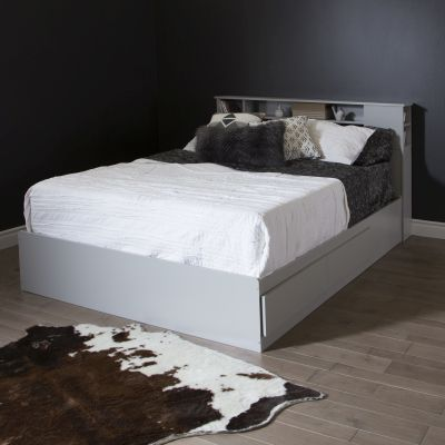Vito Queen Mates Bed with Drawers and Bookcase in Soft Gray