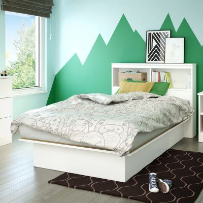Libra Twin Platform Bed with Bookcase in White - 10045
