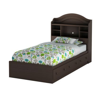 Summer Breeze Twin Bed with Drawers & Bookcase in Chocolate