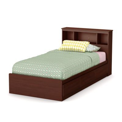 Little Treasures Twin Bed with Drawer & Bookcase in Cherry - 10051